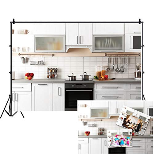 DASHAN 7x5ft Polyester Zoom Living Room Backdrop Boudoir Kitchen Meeting YouTube Video Cooking Show Modern Home House Interior Photography Background Bridal Shower Cooking Inside House Photo Prop