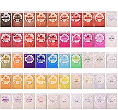 SEISSO Mica Powder - Epoxy Resin Powder Pigments Dye - for Soap Making, Bath Bomb, Paint, Slime (50 Colors 5g/ 0.18oz Each)