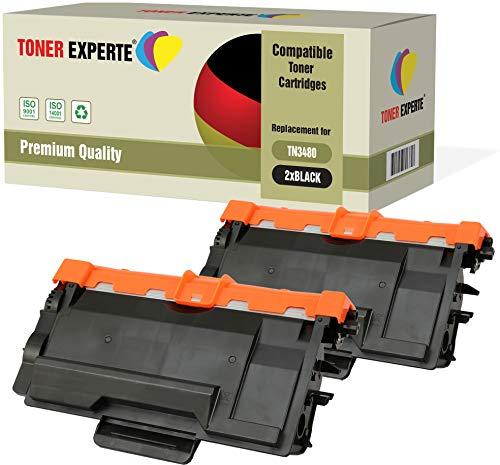 Pack de 2 TONER EXPERTE® Compatibles TN3480 Cartuchos de Tóner Láser para Brother HL-L5000D HL-L5100DN HL-L5200DW HL-L6300DW HL-L6400DW DCP-L5500DN DCP-L6600DW MFC-L5700DN MFC-L5750DW MFC-L6800DW