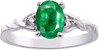 Diamond & Emerald Ring set in Sterling Silver