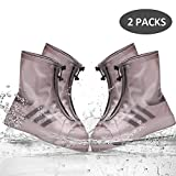 SPORUS Waterproof Shoe Cover [Two Pairs], Rain Shoe Cover with Elastic Strip and Zipper, Reusable and Anti-Slippery for Kids and Adults