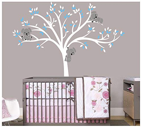 Bdecoll Albero di koala adesivi da parete/adesivi da parete per la camera dei bambini, adesivi da parete per soggiorno, per cameretta dei bambini (Blue)