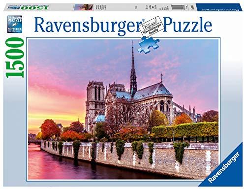 Ravensburger Puzzle Notre Dame al Tramonto, Puzzle 1500 pezzi, Relax, Puzzles da Adulti, Dimensione: 80x60 cm, Stampa di alta qualità, Travel, Viaggi