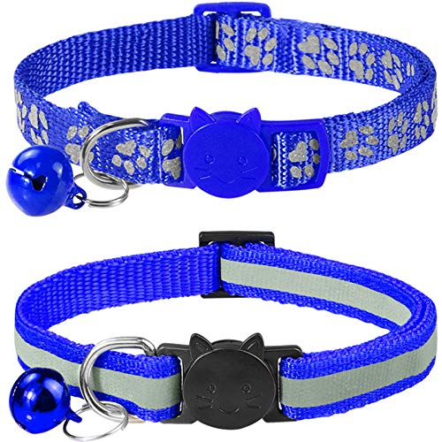 Taglory Reflective Cat Collars Breakaway with Bell, 2-Pack Girl Boy Pet Kitten Collar Adjustable 7.5-12.5 Inch, Navy Blue