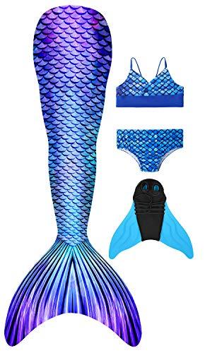 Cola de Sirena para Natación Traje de Baño Niña Cosplay Sirena de Princesa de Aleta para Nadar con Bikini y Monofin, Juego de 4 Piezas