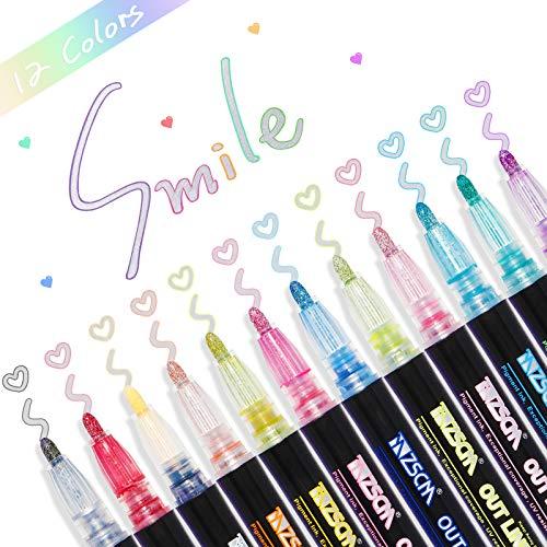 Boligrafo de Contorno, Marcadores de Contorno Doble de 12 Colores, Marcadores Mágicos Bolígrafos de Contorno para Escribir, Pintar, Hacer Tarjetas de cumpleaños, álbumes de Recortes, Manualidades