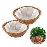 WIVAYE 2 piezas de forro de coco redondo para cesta colgante, forro de fibra de coco de 20 pulgadas con 2 piezas de forro de tela no tejida, forro de fibra de coco preformado para macetas colgantes