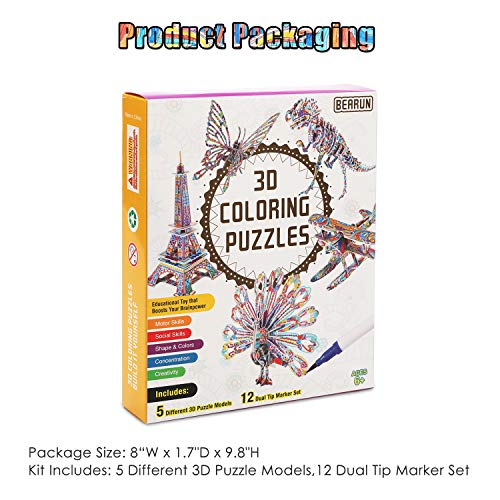 BEARUN 3D Coloring Puzzle Set, Arts and Crafts for Girls and Boys Age 6 7 8 9 10 11 12 Year Old, Fun Educational Painting Crafts Kit with Supplies for Kids, Birthday Toy Gift for Kids (5-Pack)