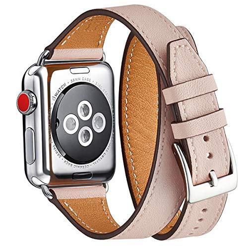 WFEAGL Kompatibel mit Watch Armband 38mm 40mm 42mm 44mm Double, Slim Doppelter Kreis Leather Ersatzband mit Edelstahl-Verschluss für Watch Serie 5/4/3/2/1(42mm 44mm, Rosa Sand/Silber)