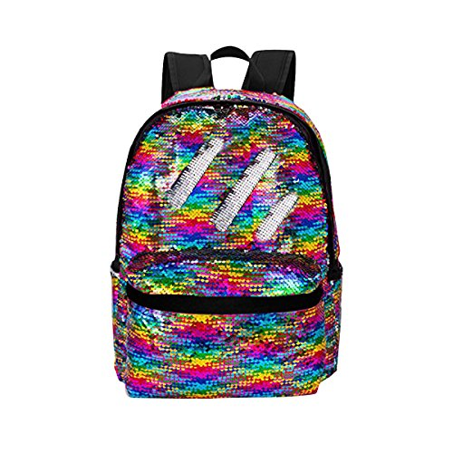 HeySun Reversible Sequins School Backpack for Girl Kids Lightweight Travel Backpack Daypack (Rainbow/Silver)