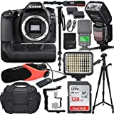 Canon EOS 80D DSLR Camera Body Only Kit with Pro Photo & Video Accessories Including 128GB Memory, Speedlight TTL Flash, Battery Grip, LED Light, Condenser Micorphone, 60' Tripod & More