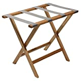 Wooden Mallet Deluxe Straight Leg Luggage Rack,Grey Straps, 20' H...