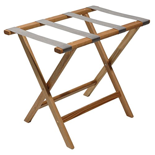 %15 OFF! Wooden Mallet Deluxe Straight Leg Luggage Rack,Grey Straps, 20 H x 23.75 W x 15.5 D, Lig...