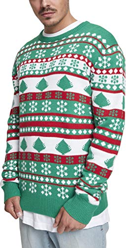 Urban Classics Snowflake Christmas Tree Sweater Sudadera, Multicolor (Evergreen/White/Firered 01567), X-Large para Hombre