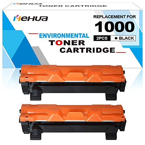 Hehua Cartucho de Tóner Compatible con impresoras Brother TN1000 TN-1000 HL-1110 HL-1112 HL-1210W MFC-1810 MFC-1910W DCP-1510 DCP-1512 DCP-1610W, 2 Toner