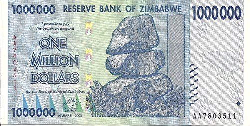 Beverly Oaks Zimbabwe 1 Million Dollars Banknote 2008