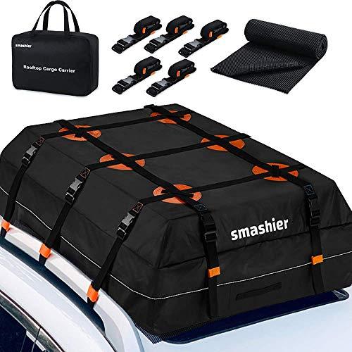 Smashier Car Rooftop Cargo Carrier Bag - 16 Cubic Ft Roof Bag, 100% Waterproof Military Grade Nylon Cordura Fabric, Heavy-Duty Zipper, Night Reflective Strip & Anti-Slip Mat Incl. for Safe Journey