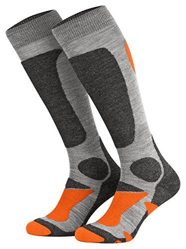 Piarini 2 Paar Unisex Skisocken Skistrumpf Herren, Damen und Kinder für Wintersport, Snowboard atmungsaktive Knie-Strümpfe Farbe Grau-Orange Gr.39-42