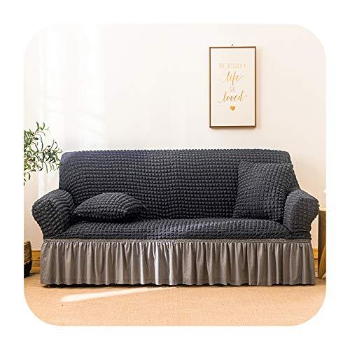 KASHINO Funda de sofá Seersucker para salón sofá falda antipolvo Funda suave única para sofá funda de sofá color 4-cuatro asientos