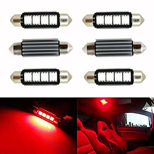 Ralbay 6 x 42mm LED Canbus 4SMD 5050 Luz Interior de Coche Festón Lámpara Rojo Numero de Canbus c5w luz de la Placa del Adorno de la boveda del Bulbo de 12V Auto-Dome Bombilla