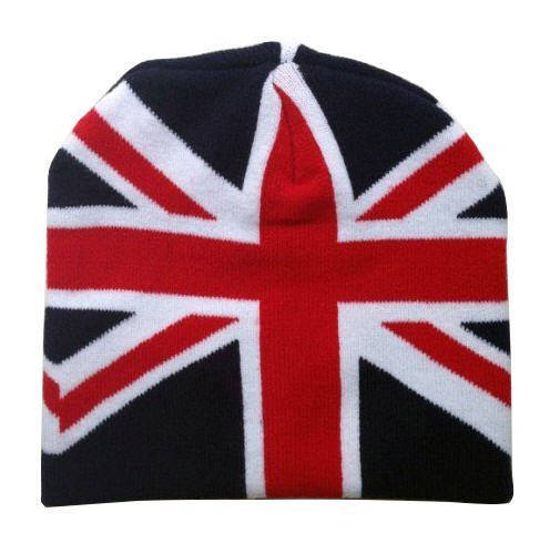 Leema Bonnet d'hiver pour homme avec drapeau britannique Union Jack - Bleu - Taille Unique