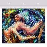 zzlzjj Cuchillo de PaletaPinturaalóleoDesnudo Mujer y Hombre Arte Corporal Imagen Pareja Lienzo Pintura para habitación Decoración de Arte de pared90x100cm