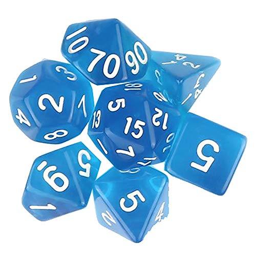 YzDnF Conjunto de Dados Dados de números Transparentes establecen Dados Multi-Cara adecuados para Juegos domésticos y móviles (3 Sets) DND Game Polyhedral D & D (Color : Blue, Size : 15mm)