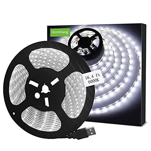 Tiras LED USB 5M, 6000K Blanco frío Luces de Tiras LED con SMD2835 LED,Impermeable IP65 Retroiluminación de TV Flexible para Cine en Casa, Cocina, Dormitorio, Sala de Estar [Clase Energética A +]