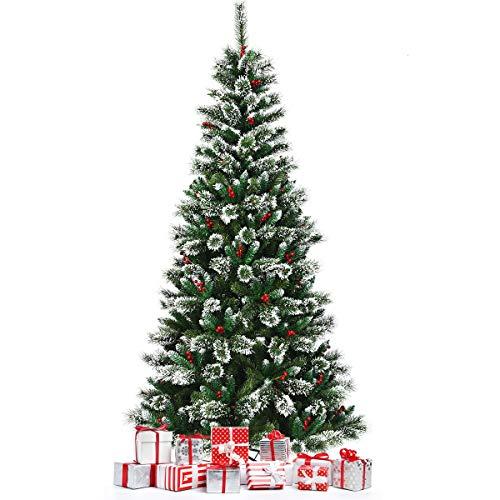 DREAMADE Albero di Natale innevato e Non Illuminato, Abete Artificiale con Bacche Rosse, con Base Pieghevole di Metallo, Perfetto Come Decorazione (240 cm)
