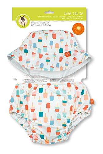 LÄSSIG Baby Kinder Bade Set Hut (wendbar) und Schwimmwindel waschbar Auslaufschutz UV-Schutz 50+/Baby Swim Set girls, Ice Cream, 6 Monate, mehrfarbig