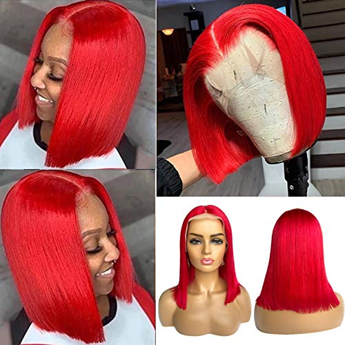 Human Hair Bob Wigs Red T Part Lace Front Wigs Virgin Remy Hair Wigs for Women 8 Inch Straight 13x1x5 Glueless Lace Wigs Pre Plucked Hairline Full Ends with Baby Hair 150% Middle Part Red Bob Wigs
