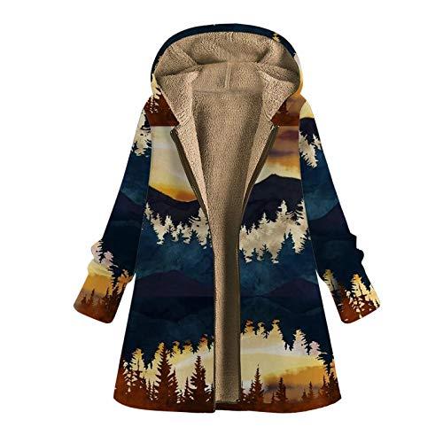 Yazidan - Chaqueta de invierno para mujer, diseño vintage con estampado floral c XL