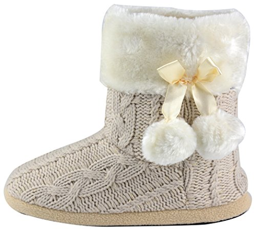 Hausschuhe Damen Pantoffeln Stiefel Schuhe mit weichen Pom Poms Slippers Airee Fairee, Gr. EU 36-37.5/Small, Beige