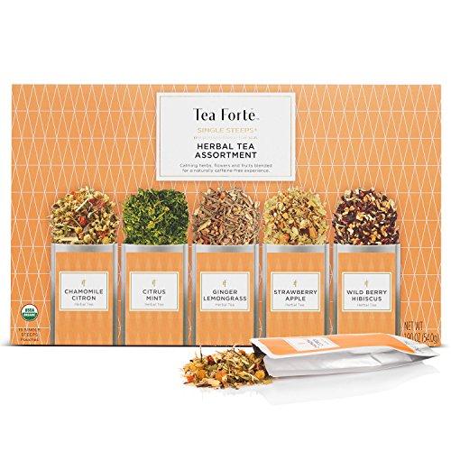 Tea Forte Single Steeps Herbal Tea Sampler, Loose Leaf Tea Geschenkbox Variety Packung mit 15 Einzelportionsbeuteln mit natürlich entkoffeinierten Kräutertees