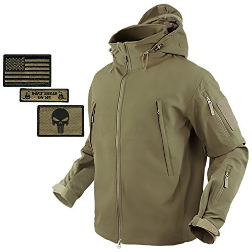 Bundle (Coyote Tan) Condor Summit Softshell Tactical Jacket + 3 Morale Patches