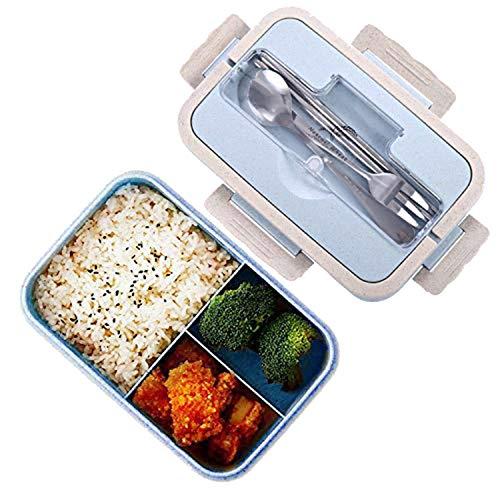 Bento boxen, Funmo-Lunch Box Box, LeakProof natuurlijke veiligheidstarwe Opbergbox met stokjes, lepel voor volwassen kinderen, in de magnetron (1000ml)