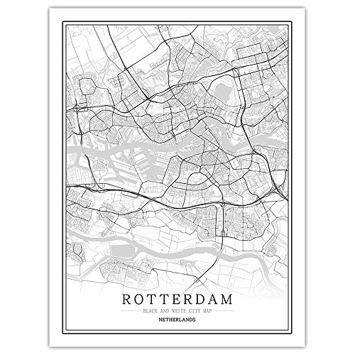 ZSHSCL Print op canvas, Rotterdam Wit Zwart World City Map Poster Nordic Wall Art Foto Canvas schilderijen schilderijen voor woonkamer slaapkamer Library 30×40cm