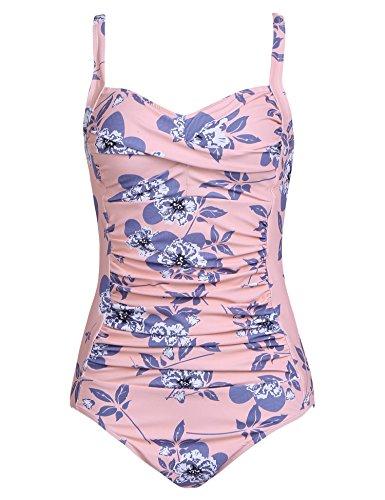 Ekouaer Swimsuits Womens Ruched Retro Inspired Tankini One Piece Monokinis Classic Beachwear(Flower Pink,Small)