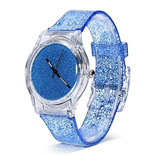 Sonew Relojes de Cuarzo para Mujer Brillo Reloj de Pulsera en Polvo Caja de dial Redondo cómodos Relojes de Correa de plástico para Adolescentes Reloj de señora Relojes Femeninos(Cielo Azul)
