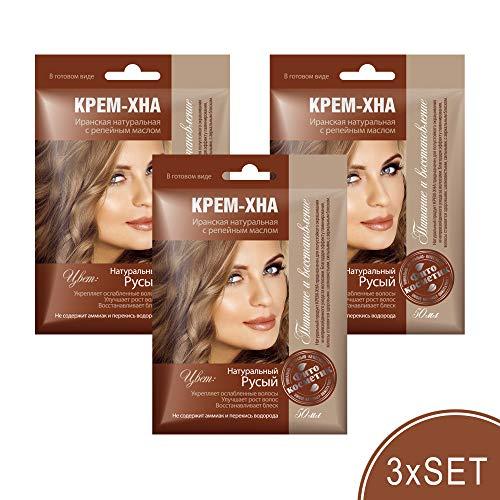 3xSET Henna Creme mit Klettenöl iranische Haarfarbe Haarkur Haare natürlich Naturkosmetik Tönungscreme gebrauchsfertig (Natürliches Dunkelblond) Краска для волос, цвет русый