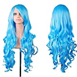 Rbenxia Curly Cosplay Wig Long Hair Heat Resistant Spiral Costume Wigs Anime Fashion Wavy Curly Cosplay Daily Party Light Blue 32' 80cm
