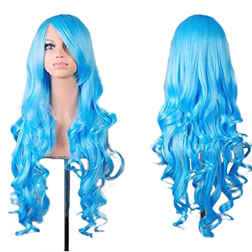 """Rbenxia Curly Cosplay Wig Long Hair Heat Resistant Spiral Costume Wigs Anime Fashion Wavy Curly Cosplay Daily Party Light Blue 32"""" 80cm"""