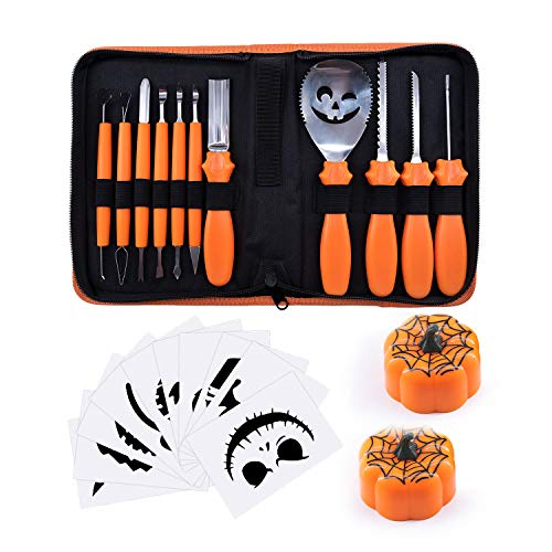 Halloween Pumpkin Carving Kit, BQYPOWER 24 Piece Professional Pumpkin Cutting Tools Set Pumpkin Lanterns Heavy Duty Stainless Steel Carving Tools for Pumpkin Jack-o-Lanterns, with Carrying Case