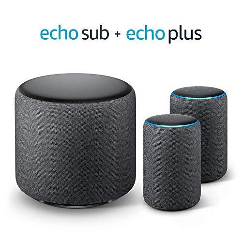 Système Stéréo Echo Plus - 2 Amazon Echo Plus (2ème génération), Tissu...