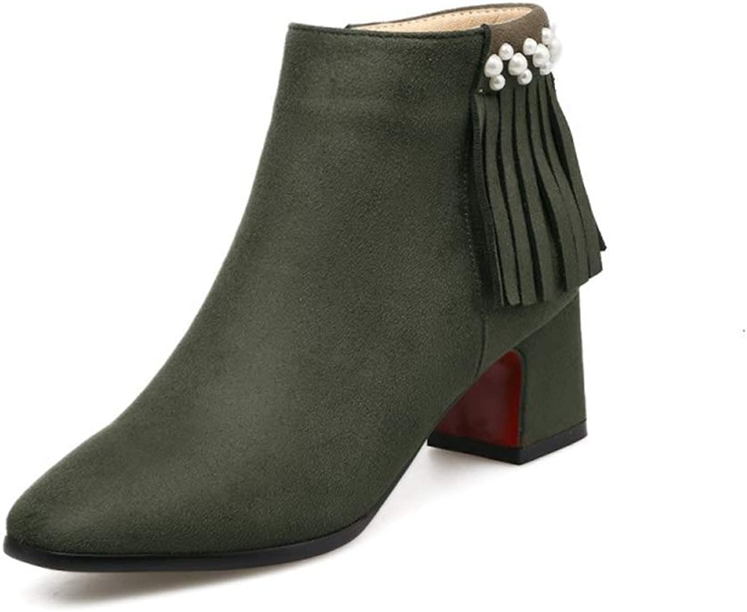 Women's Booties, Mid Heel Plus Velvet Keep Warm Tassel Martin Boots Ladies Pointed Thick Heel 5.5cm Fashion Ankle Boots (color   A, Size   33)