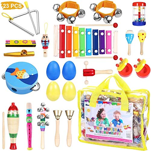 iBaseToy Toddler Musical Instruments Set 23Pcs 16Types Wooden Musical Toys Set Percussion Instruments Tambourine Xylophone for Kids Preschool Education Musical Toys for Boys Girls with Carrying Bag