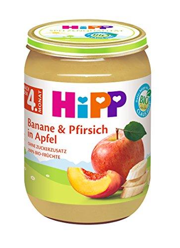 HiPP Früchte Banane und Pfirsich in Apfel, 6er Pack (6 x 190 g)