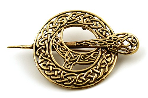 Bronze Filigree Celtic Knot Irish Tara Pin and Brooches Vintage Norse Jewelry Thailand Made (2 in 1 Brooch & Pendant V.2)