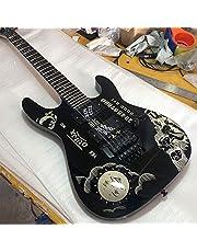 Lokaibin Zwarte maan god zwart 6-snarige elektrische gitaar, rose fingerboard, zwarte accessoires (Color : Guitar, Size : 40 inches)