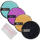 KOILDA- lot de 4 cotons bleu violet noir or demaquillant reutilisable et lavable en microfibre grande taille+1 sac de lavage,tampon double face, nettoyage du visage. Diamètre 12 cm